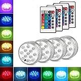 Produkt: Danolt 4Pcs LED Unterwasser Licht mit Fernbedienung 3 x AAA-Batterien Farbwechsel Unterwasserlicht Zubehör für Vasenbasis, Whirlpool, Aquarium, Teich, Pool, Garten, Zuhause (Neues Upgrade 13 LED) (Preisvergleich)
