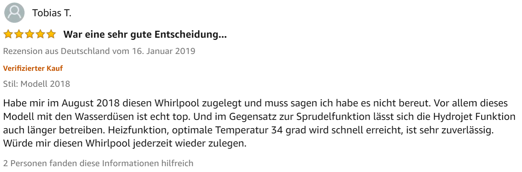 Screenshot einer aussagekräftigen Kundenrezension (Produkt: Lay-Z-Spa Hawaii Whirlpool)